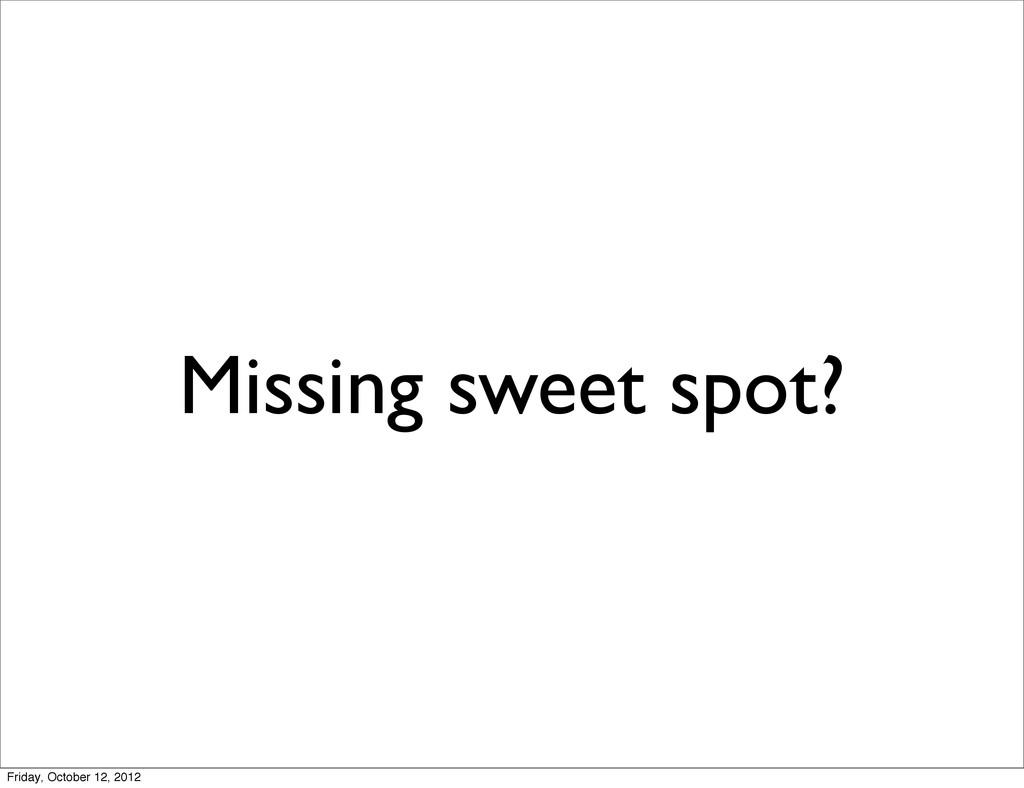 Missing sweet spot? Friday, October 12, 2012
