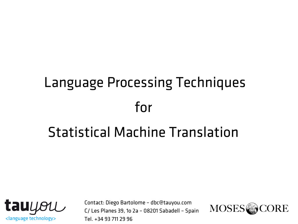 Language Processing Techniques for Statistical ...