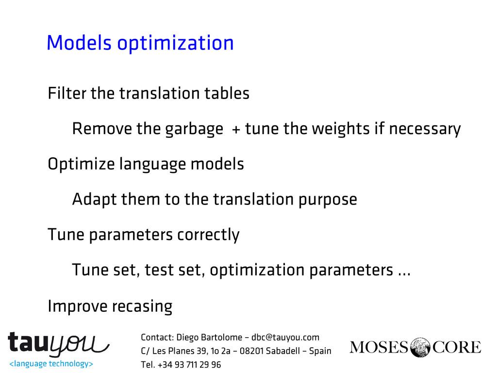 Models optimization Filter the translation tabl...