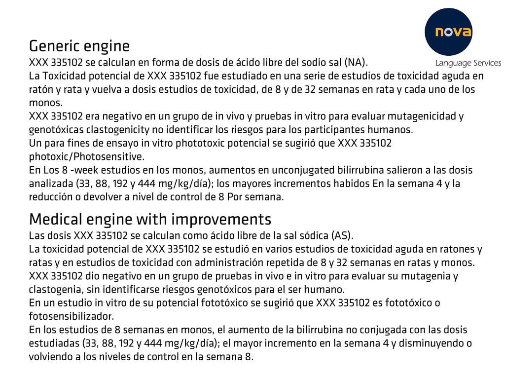 Generic engine XXX 335102 se calculan en forma ...