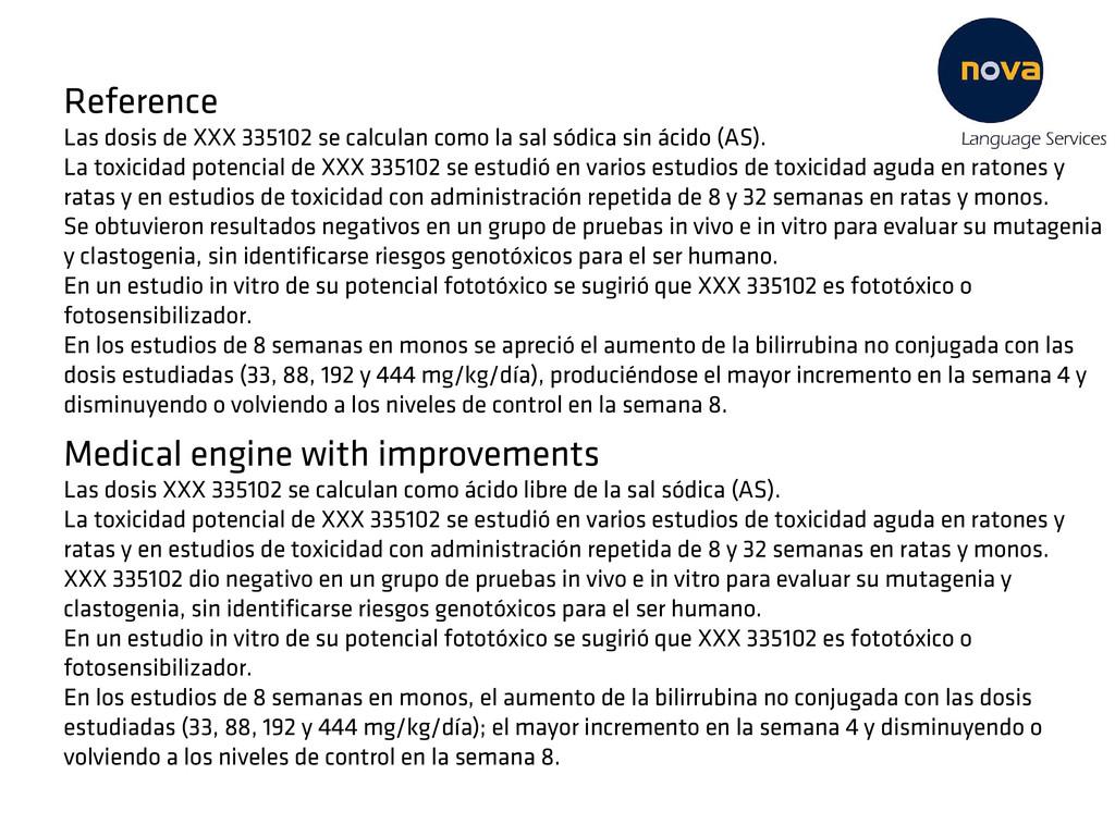 Reference Las dosis de XXX 335102 se calculan c...