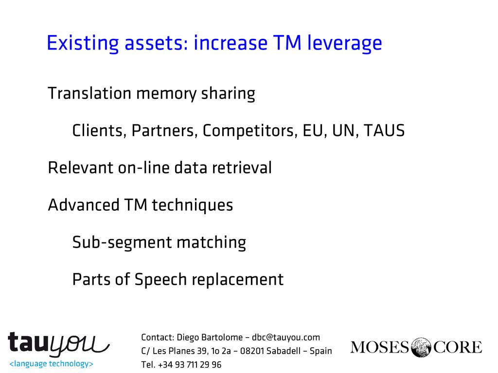 Existing assets: increase TM leverage Translati...