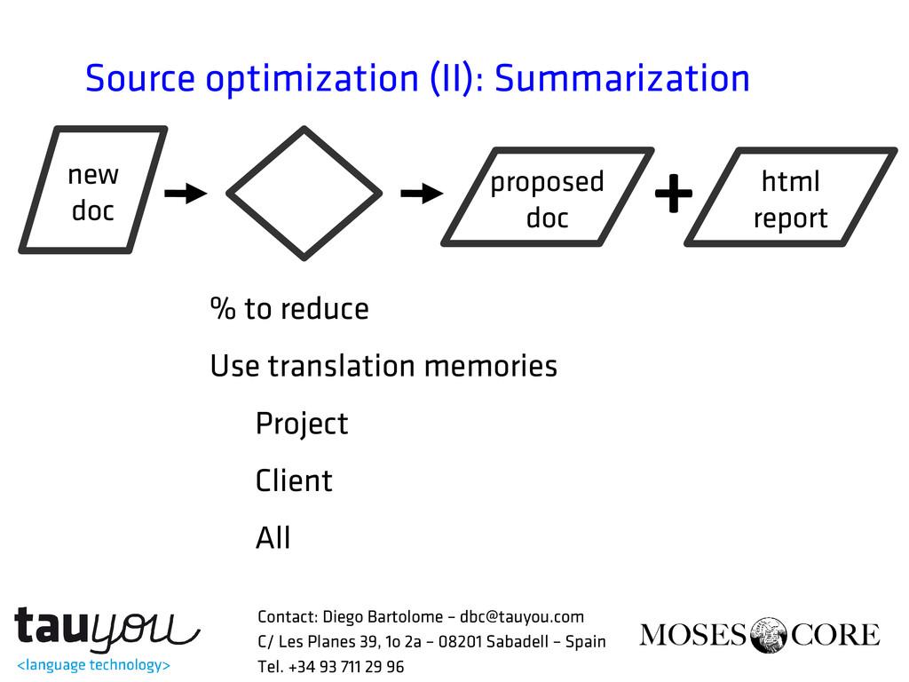 Source optimization (II): Summarization % to re...