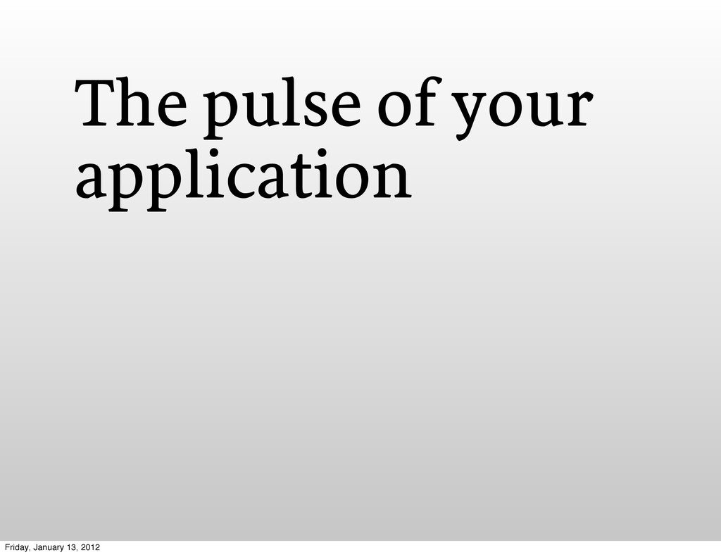 The pulse of your application Friday, January 1...