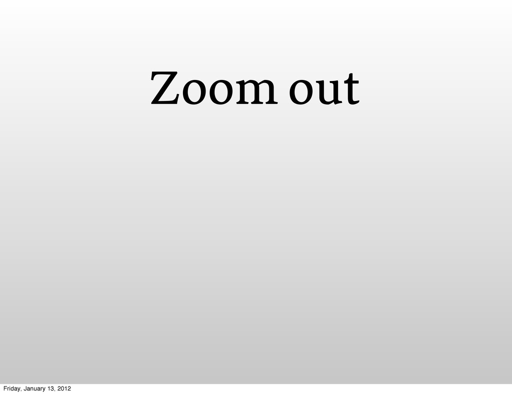 Zoom out Friday, January 13, 2012