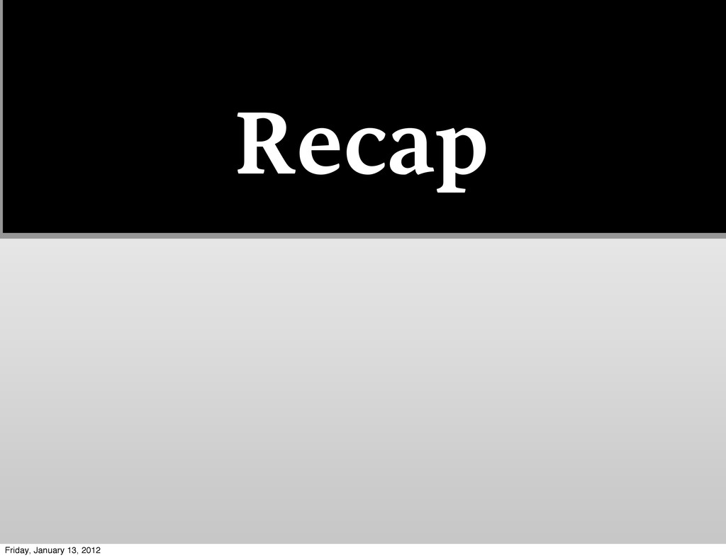 Recap Friday, January 13, 2012