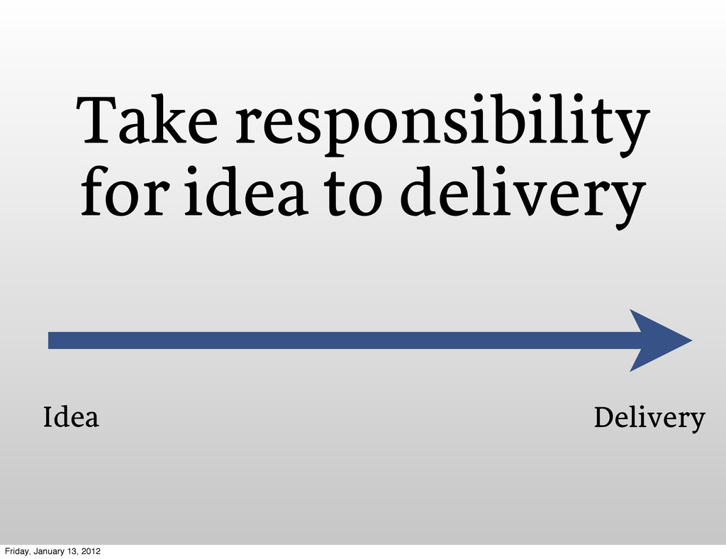 Take responsibility for idea to delivery Idea D...