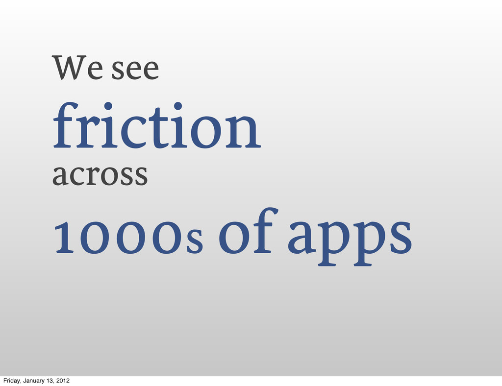 We see friction across 1000s of apps Friday, Ja...