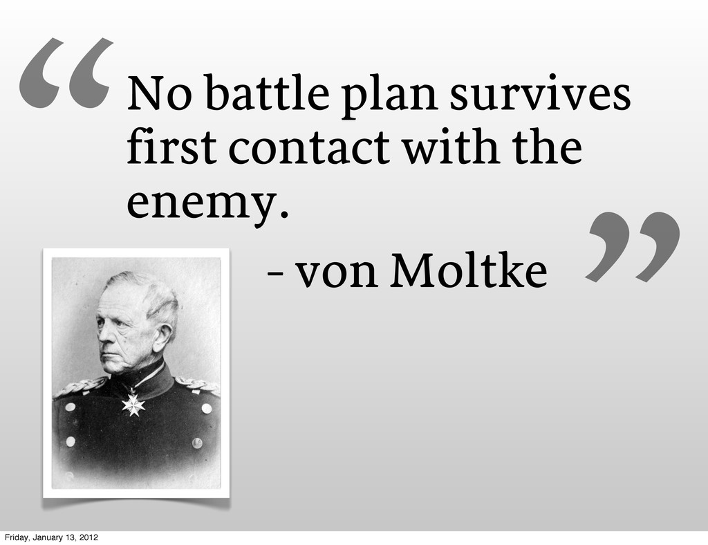 No battle plan survives first contact with the ...