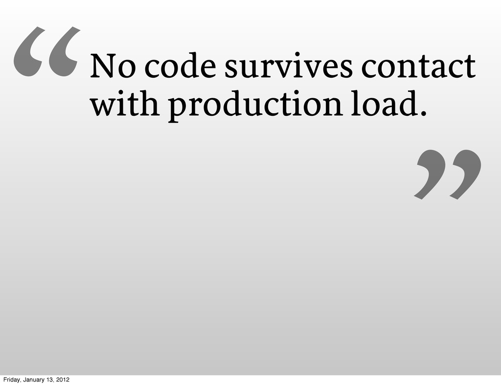 No code survives contact with production load. ...