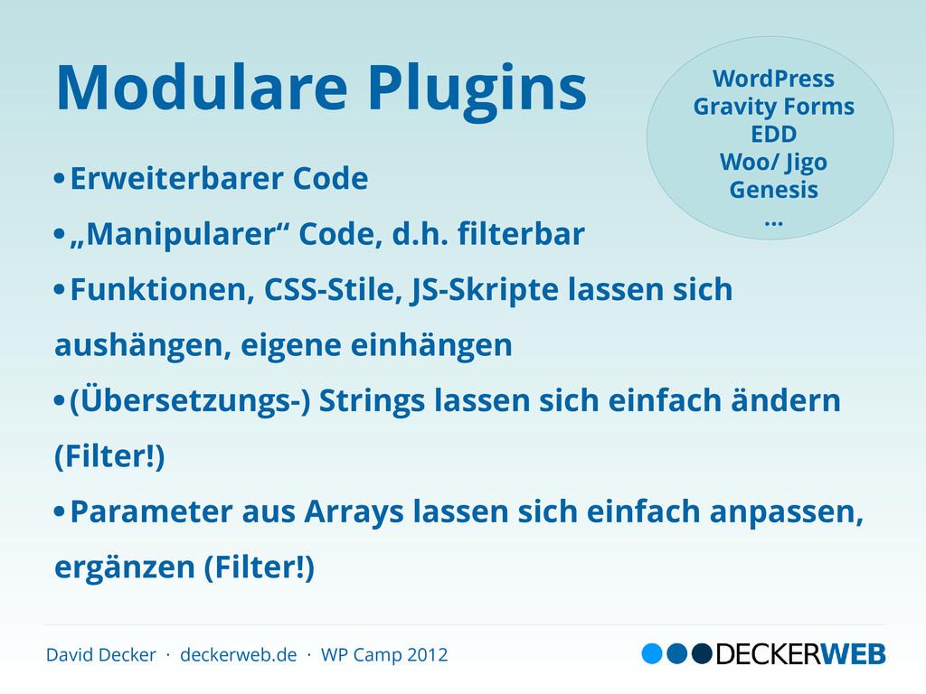 David Decker · deckerweb.de · WP Camp 2012 Modu...