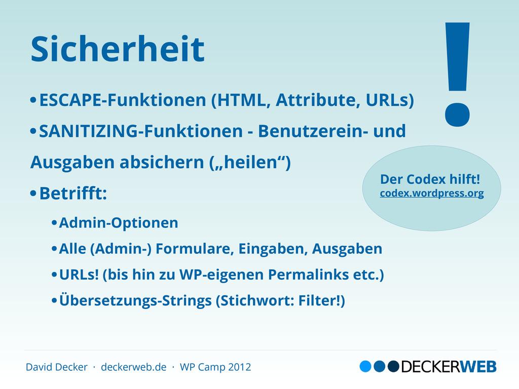 David Decker · deckerweb.de · WP Camp 2012 Sich...