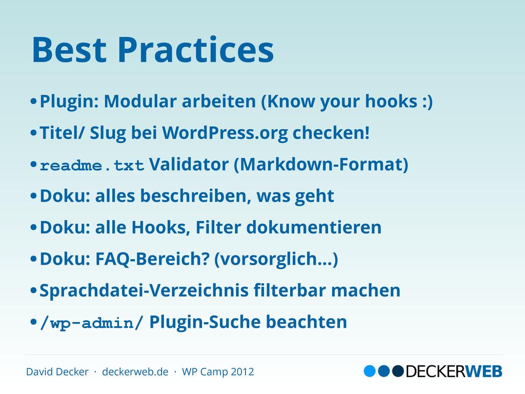 David Decker · deckerweb.de · WP Camp 2012 Best...