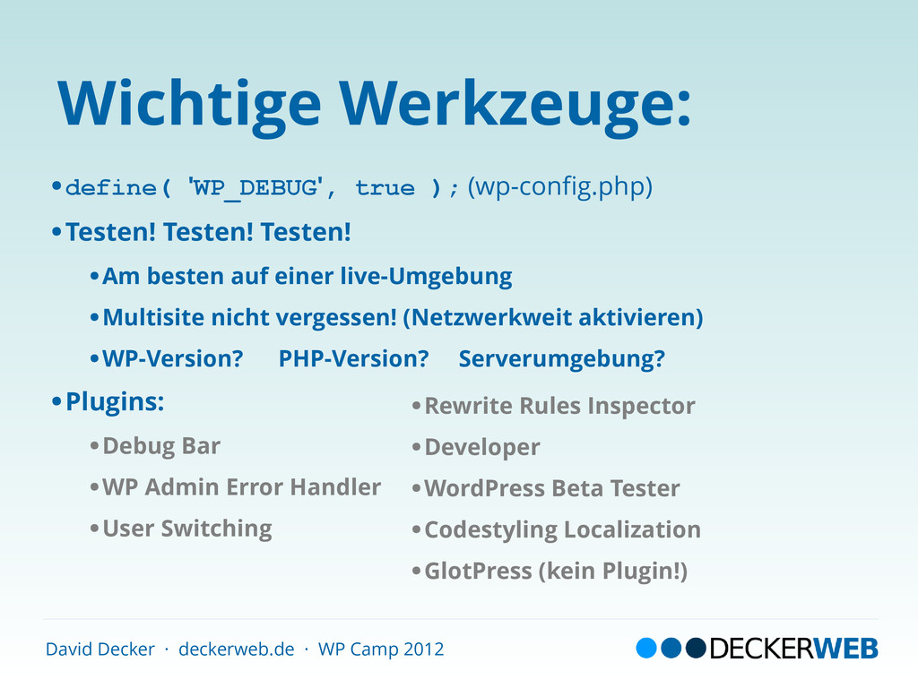David Decker · deckerweb.de · WP Camp 2012 Wich...