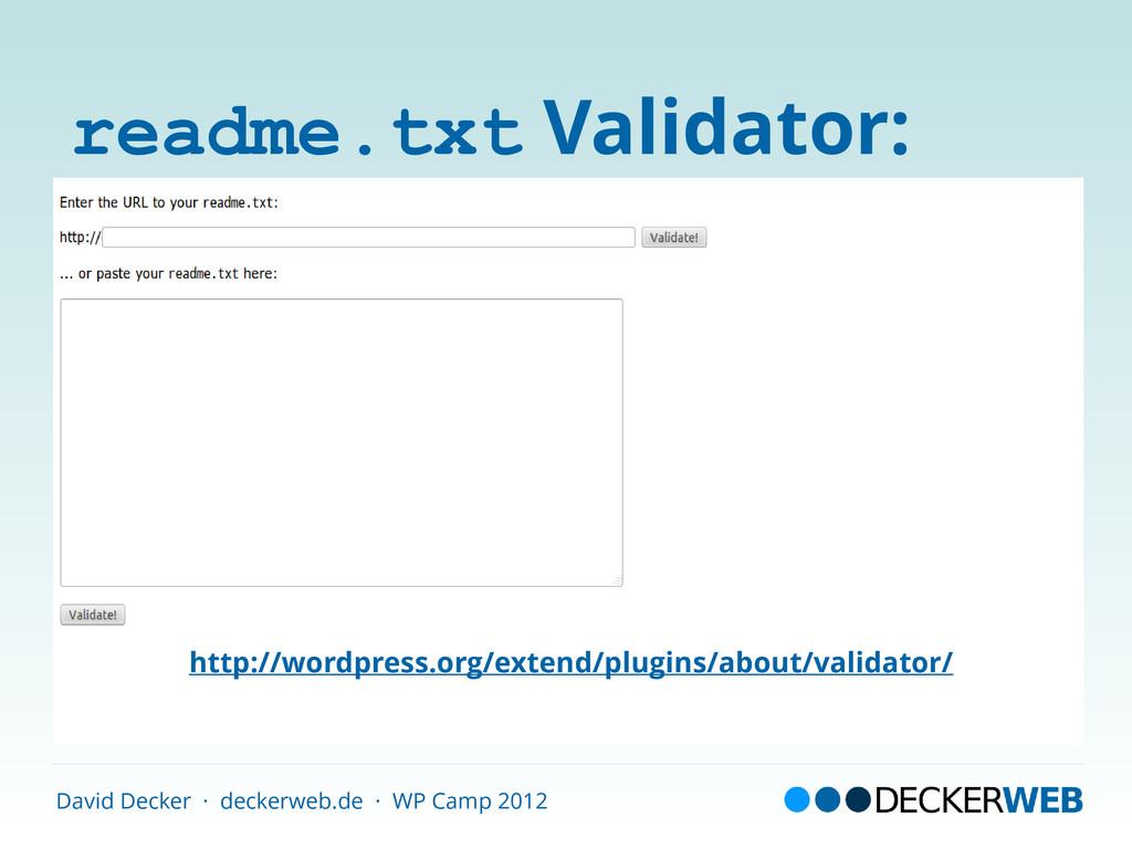 David Decker · deckerweb.de · WP Camp 2012 read...