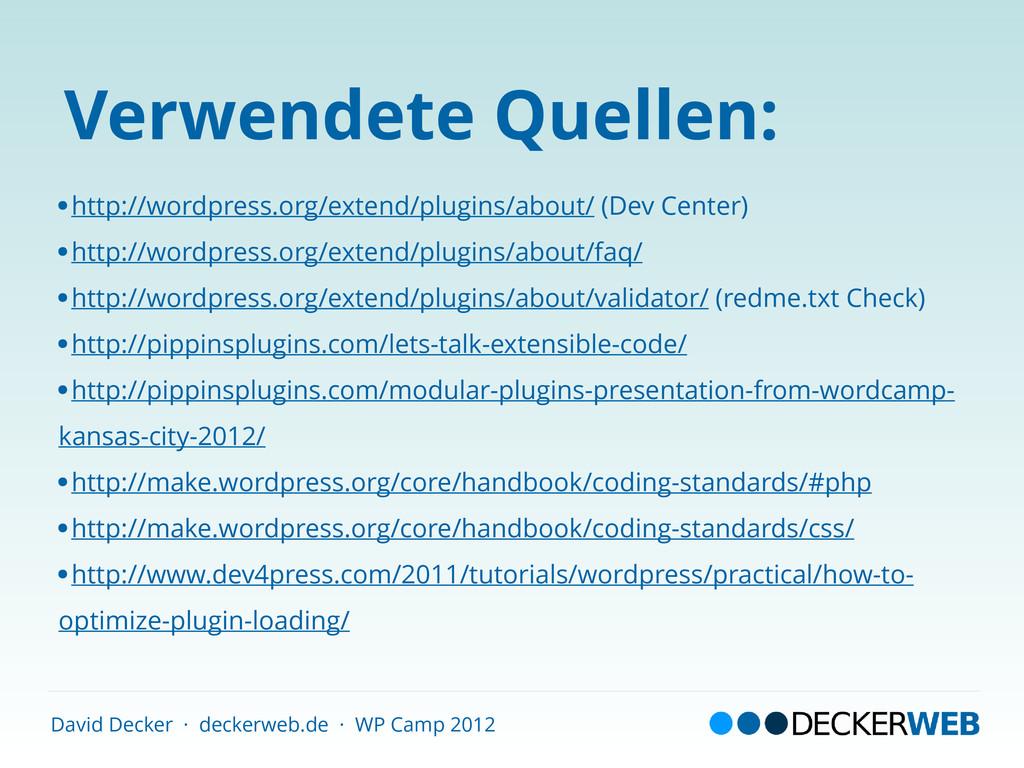 David Decker · deckerweb.de · WP Camp 2012 Verw...