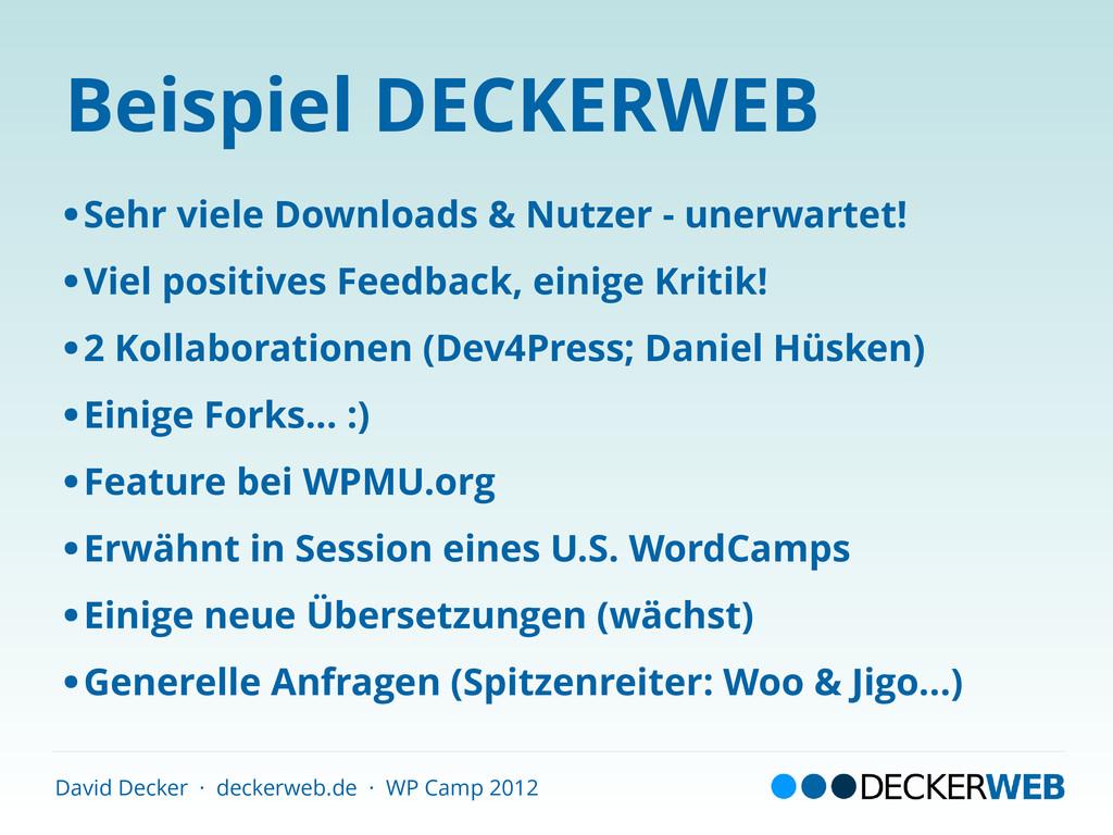 David Decker · deckerweb.de · WP Camp 2012 Beis...