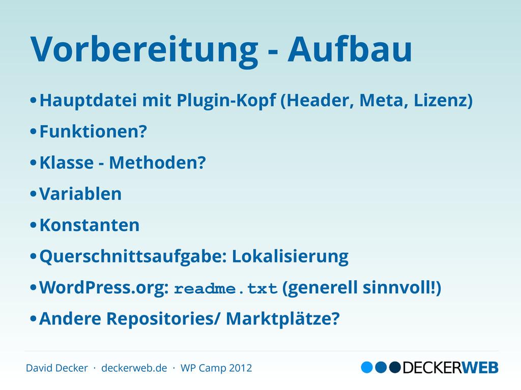 David Decker · deckerweb.de · WP Camp 2012 Vorb...