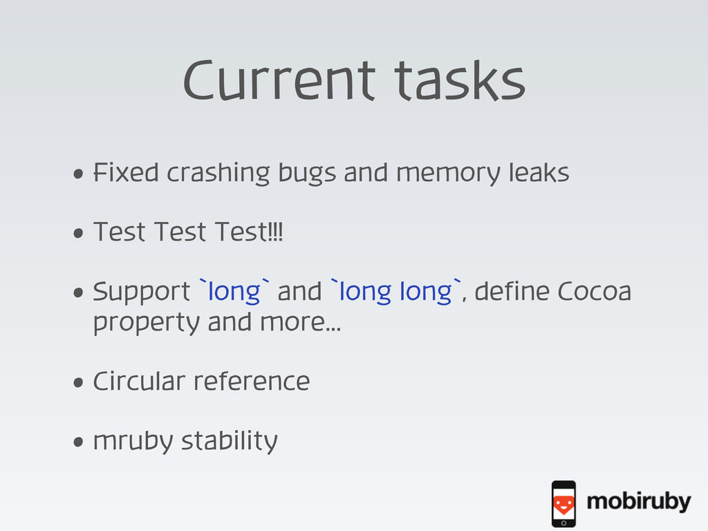 Current tasks • Fixed crashing bugs and memory ...