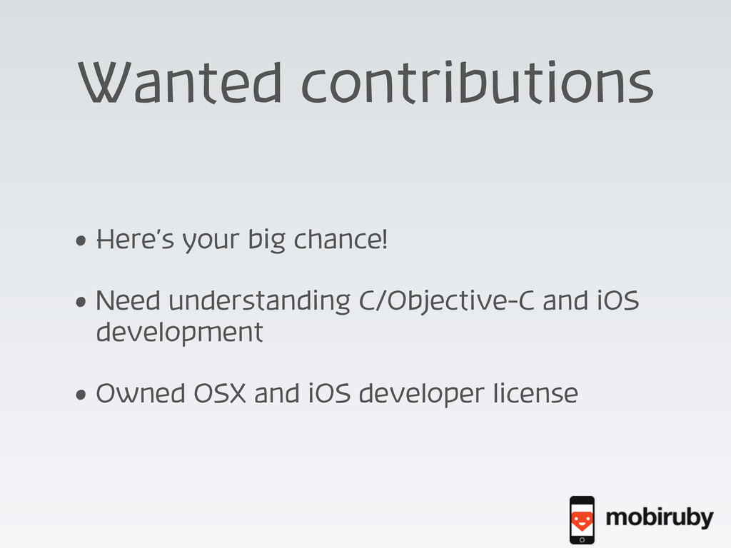 Wanted contributions • Here's your big chance! ...