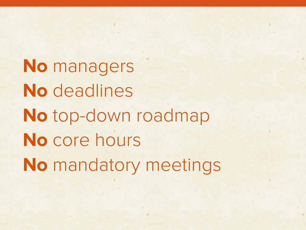 No managers No deadlines No top-down roadmap No...