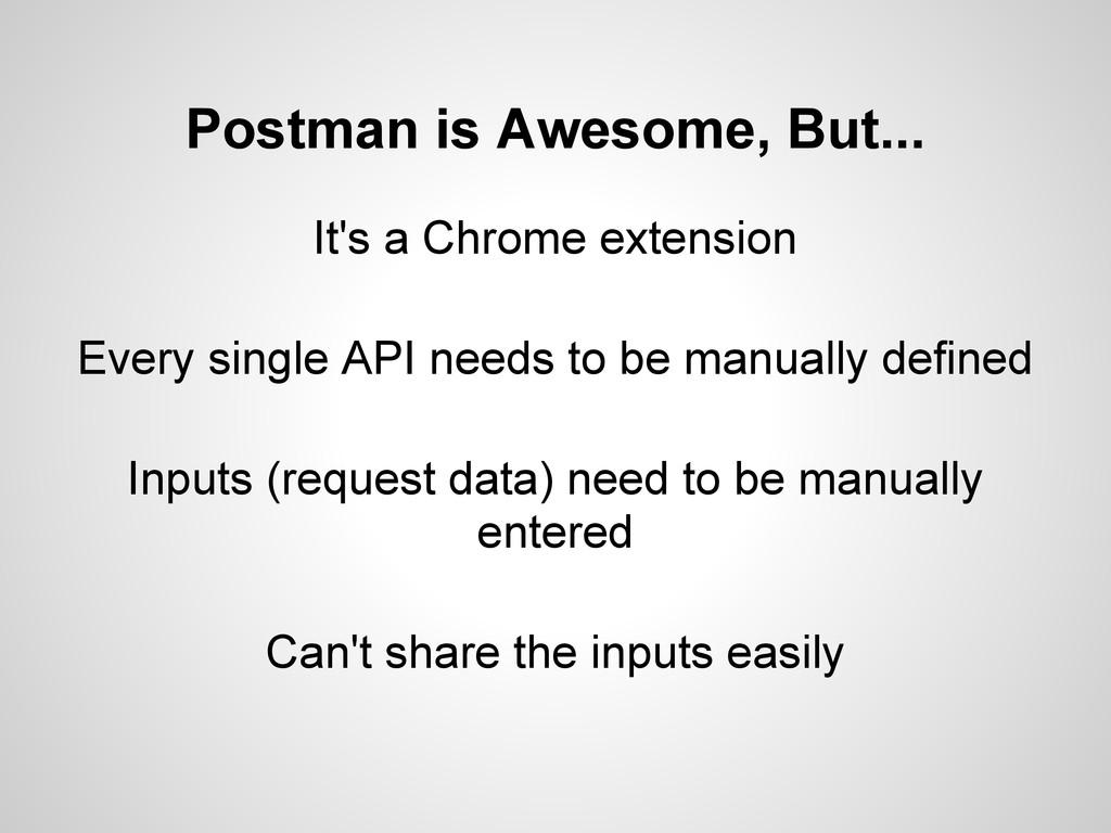 It's a Chrome extension Every single API needs ...