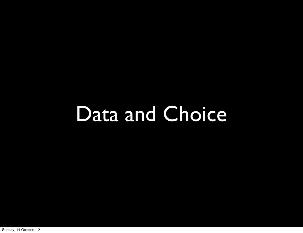 Data and Choice Sunday, 14 October, 12
