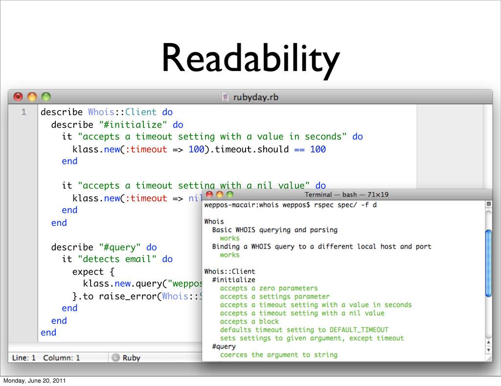 Readability describe Whois::Client do describe ...