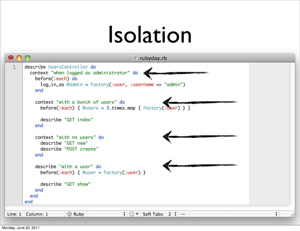 """Isolation describe UsersController do context """"..."""
