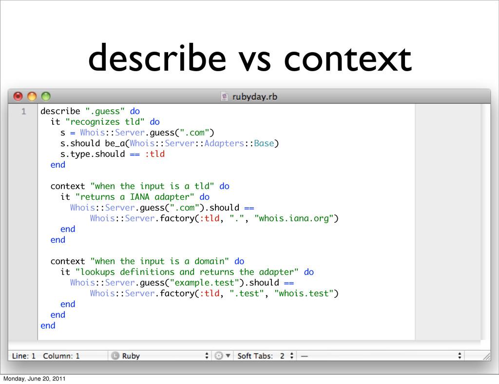"""describe vs context describe """".guess"""" do it """"re..."""