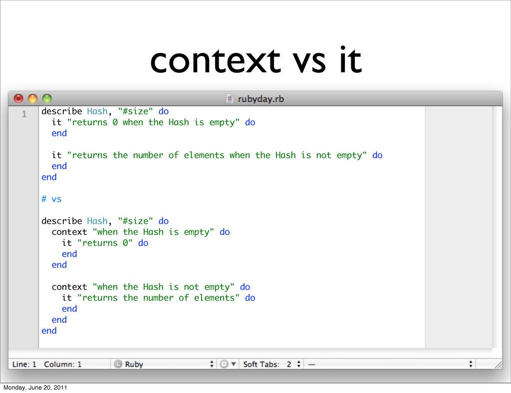 """context vs it describe Hash, """"#size"""" do it """"ret..."""