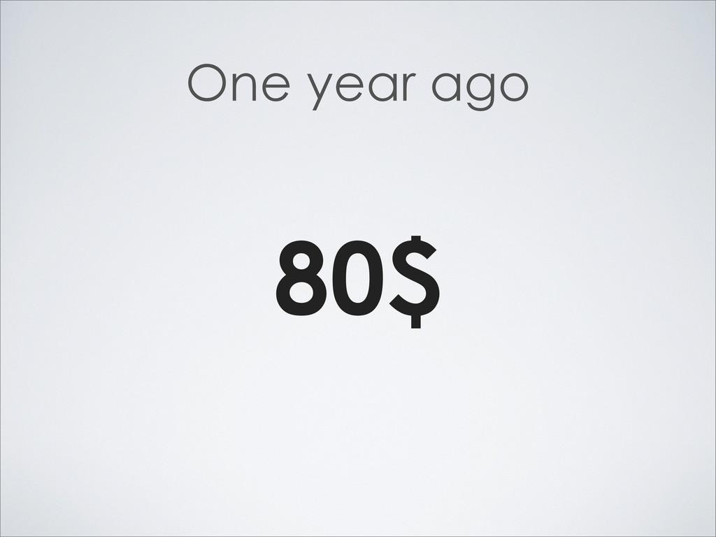 One year ago 80$