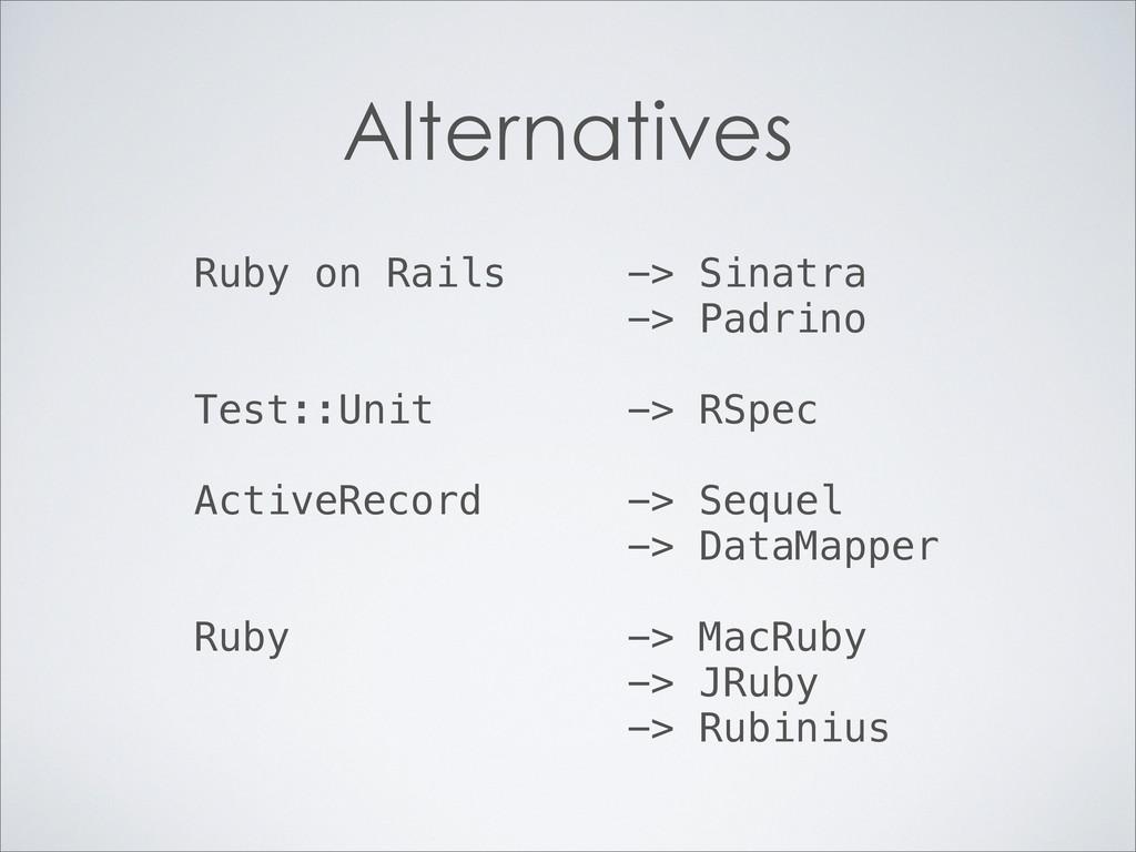 Alternatives Ruby on Rails -> Sinatra -> Padrin...