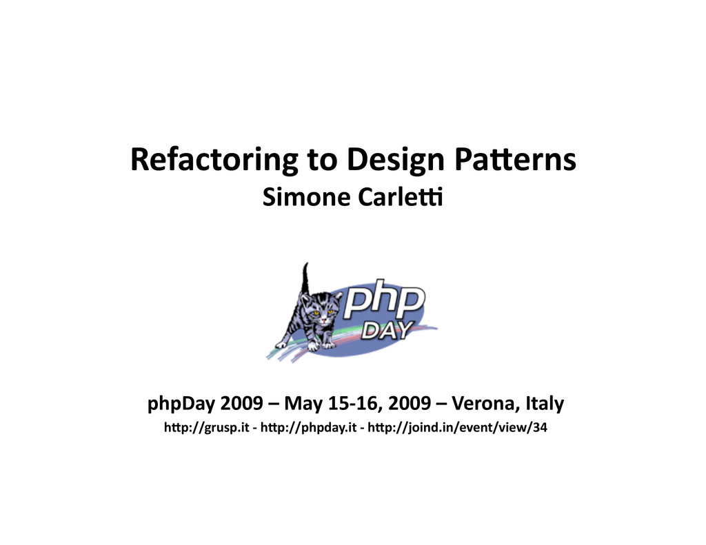 Refactoring to Design Pa0erns Simone Carle5 php...
