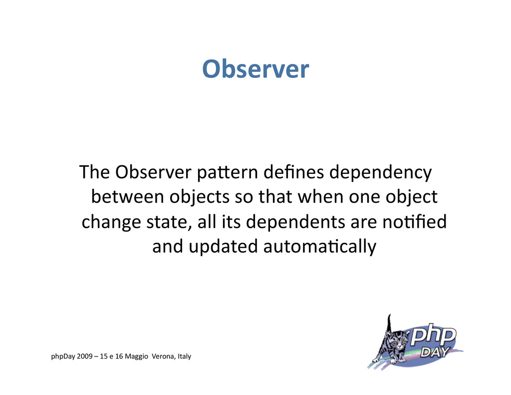 Observer The Observer paVern defines dependency ...