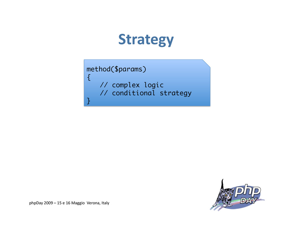 Strategy method($params) { // complex logic // ...
