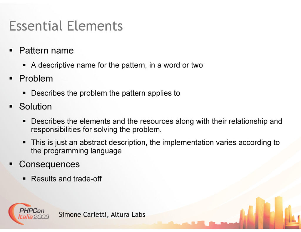Essential Elements  Pattern name  A descrip...