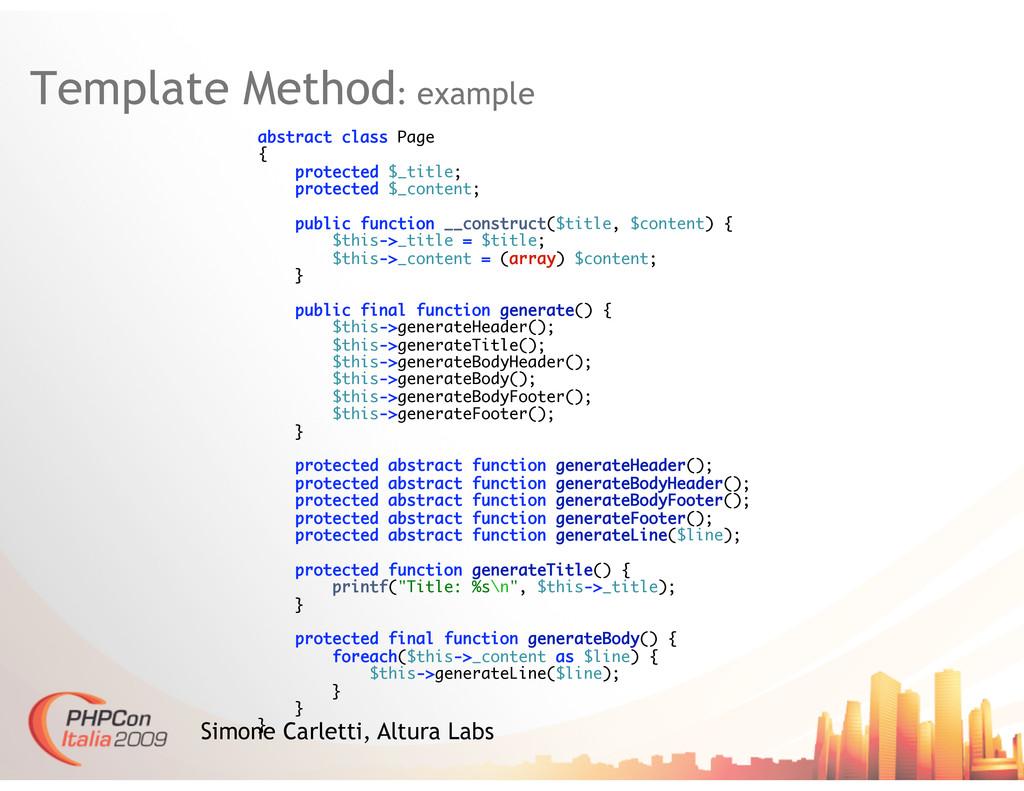 Template Method: example Simone Carletti, Altur...