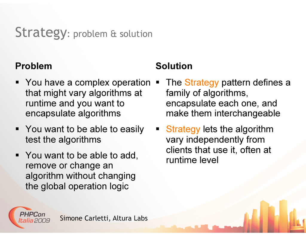 Strategy: problem & solution Problem Solution S...