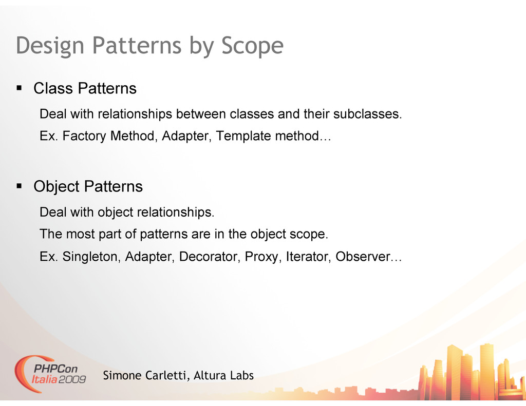 Design Patterns by Scope   Class Patterns Deal...
