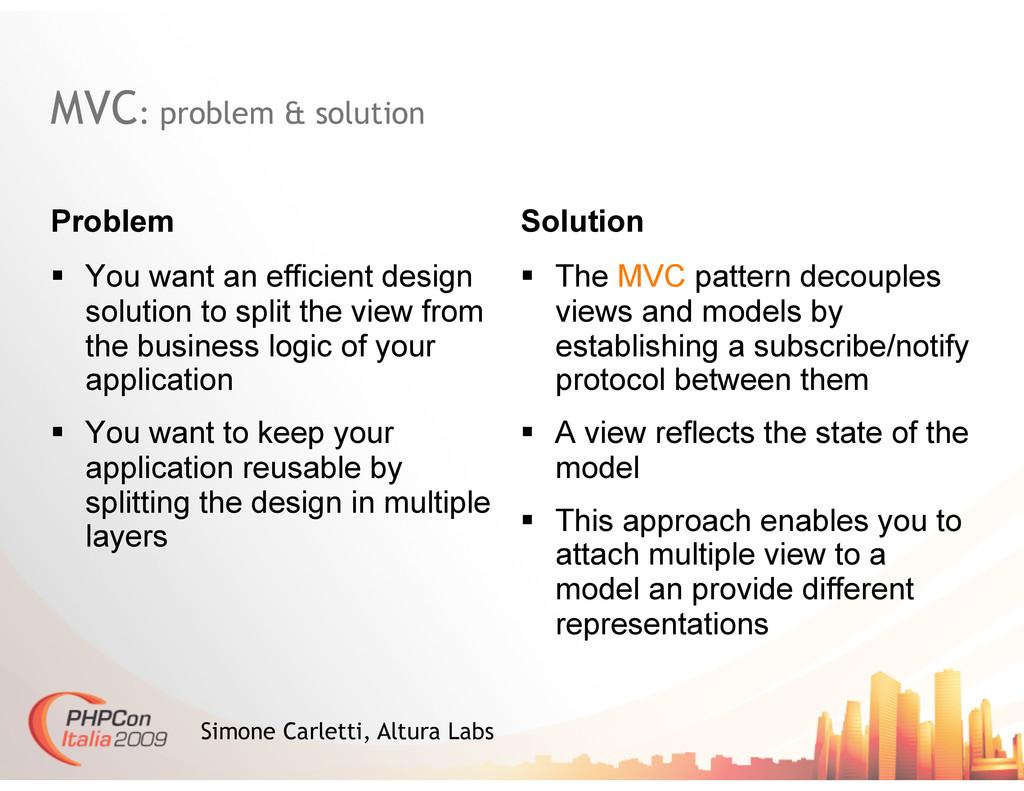 MVC: problem & solution Problem Solution Simone...