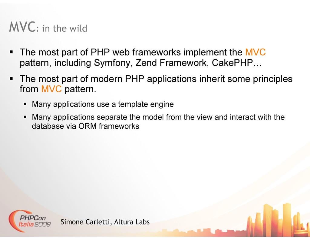MVC: in the wild Simone Carletti, Altura Labs ...