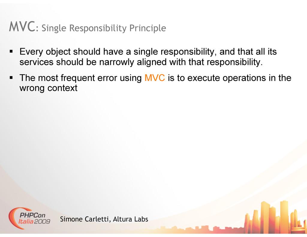 MVC: Single Responsibility Principle Simone Car...