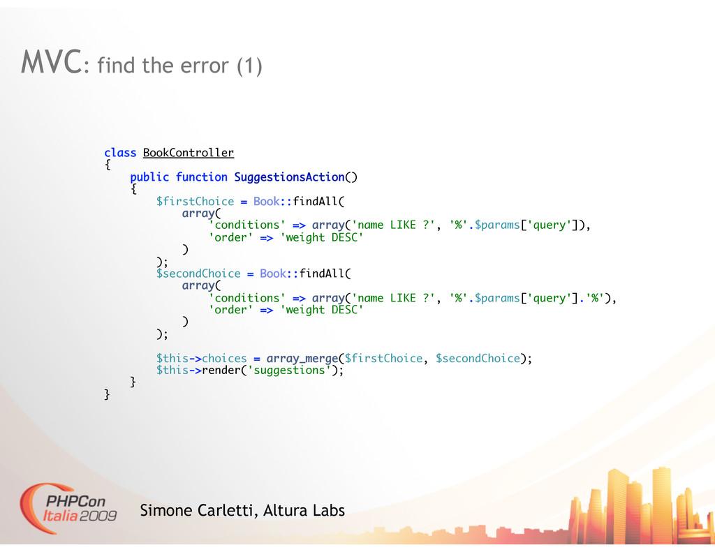 MVC: find the error (1) Simone Carletti, Altura...