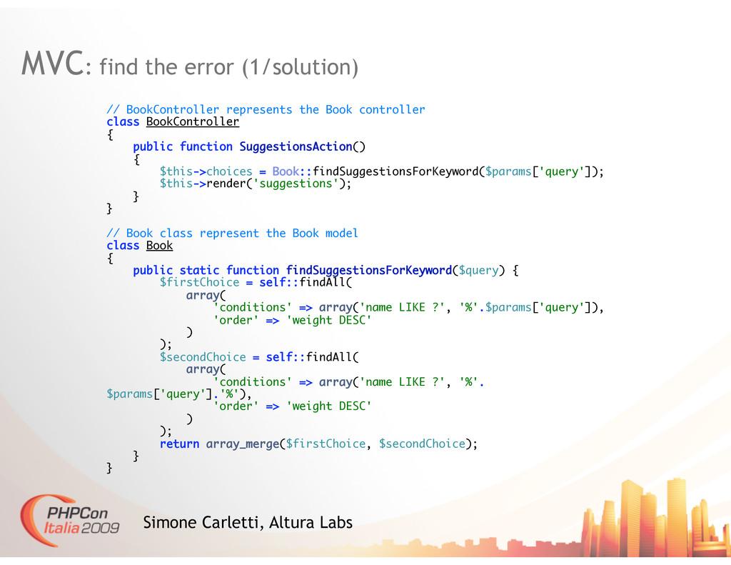 MVC: find the error (1/solution) Simone Carlett...
