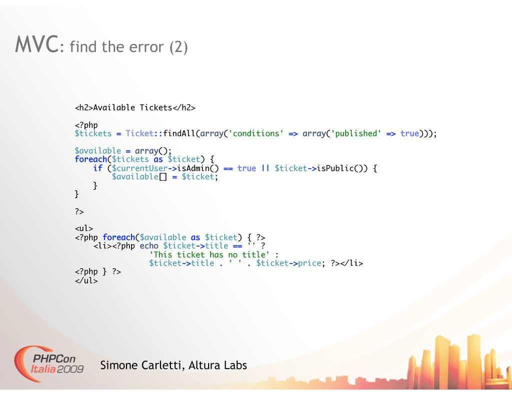 MVC: find the error (2) Simone Carletti, Altura...