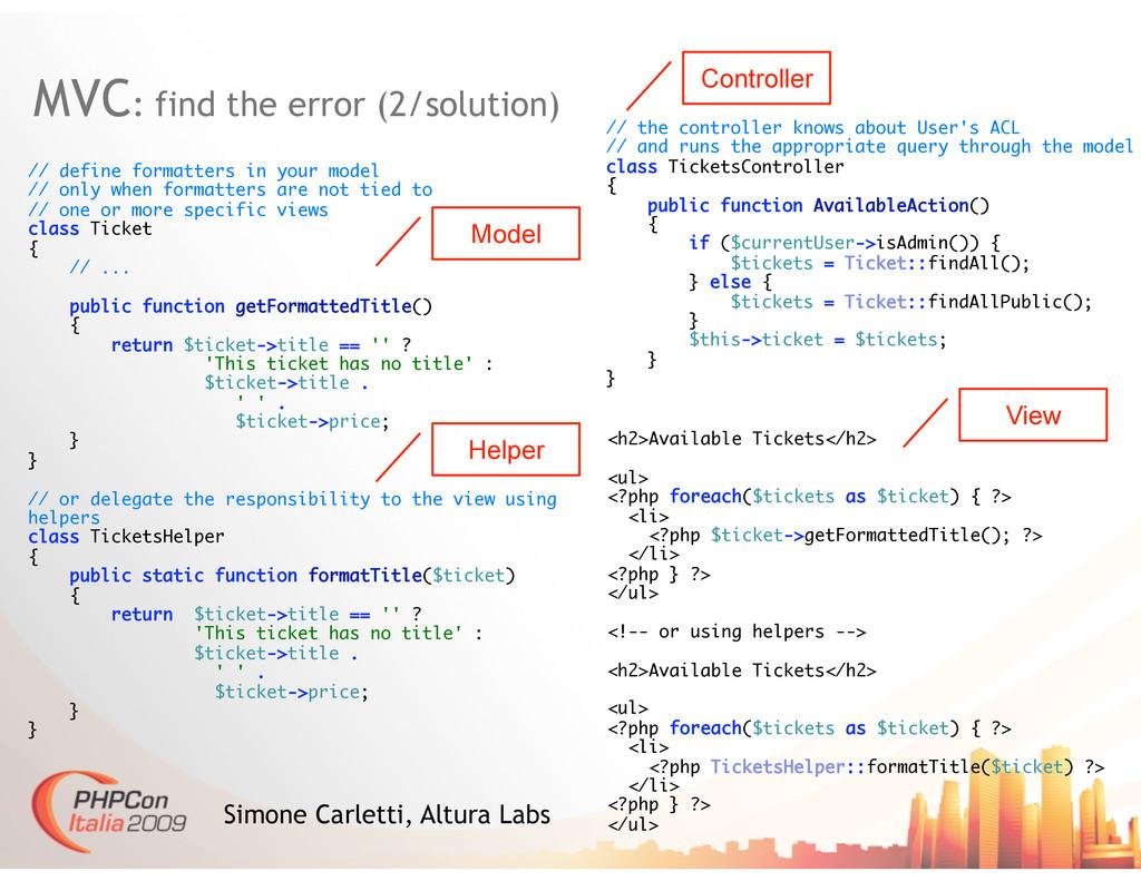 MVC: find the error (2/solution) Simone Carlett...