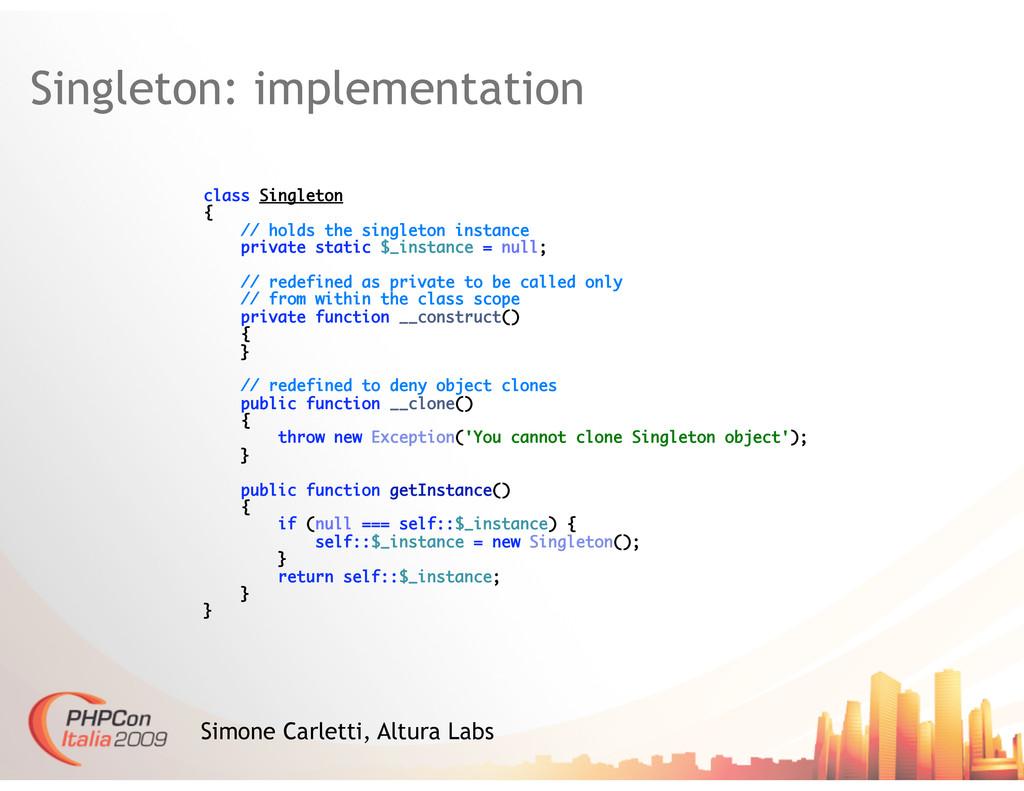Singleton: implementation Simone Carletti, Altu...