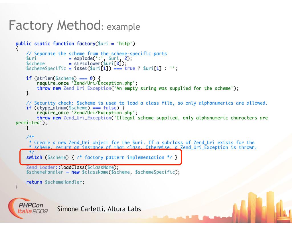 Factory Method: example Simone Carletti, Altura...