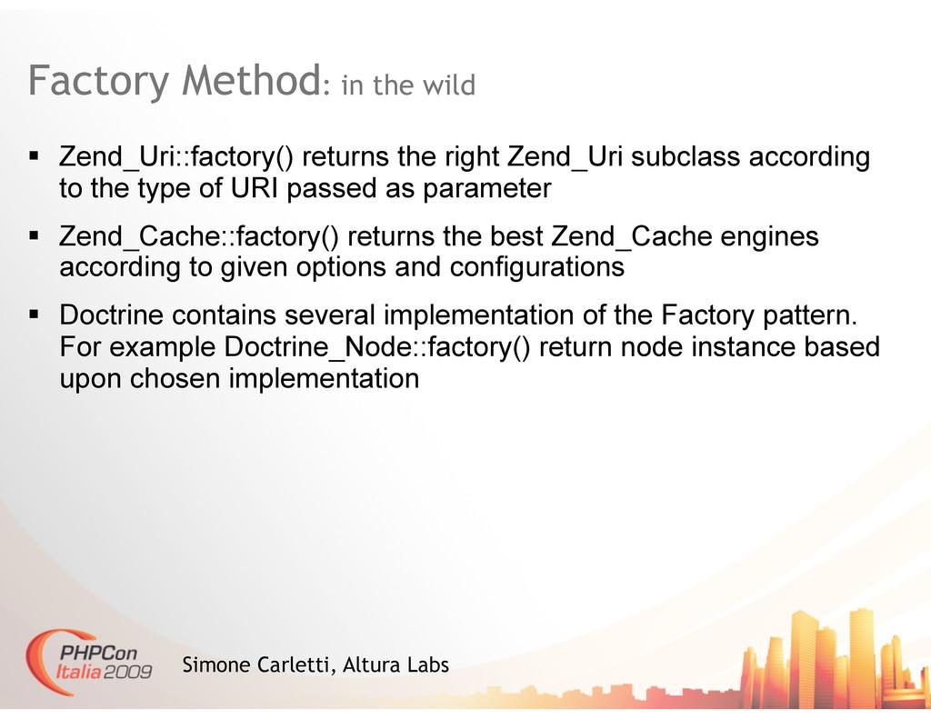 Factory Method: in the wild Simone Carletti, Al...